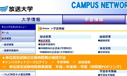 キャンパスネットワークでの単位認定試験の日程時間割の確認方法